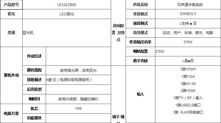 tcl液晶电视 le32e2900 含安装